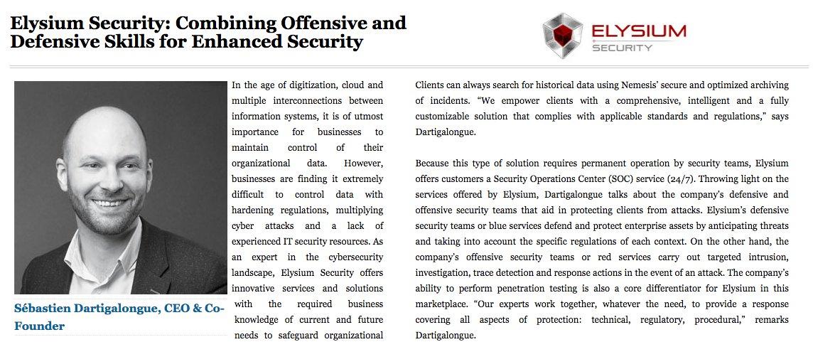 """Elysium Security salué par le magazine américain de référence """"Entreprise security""""."""